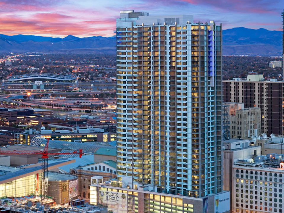 Spire Denver - Aerial View with Sunset
